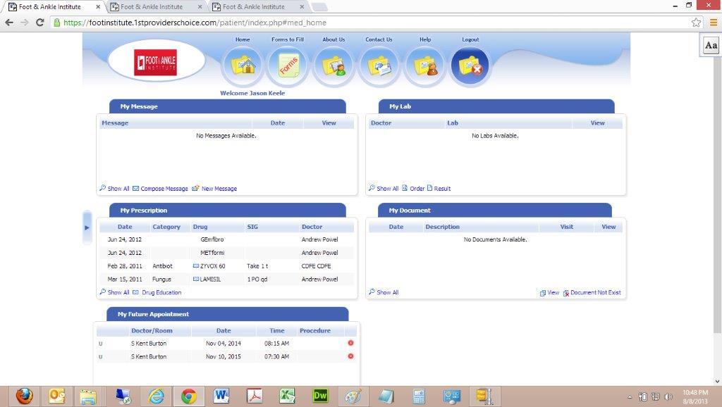 Online Electronic Patient Health Records Portal